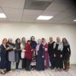 Grupo de LALMA con la maestra Gaby Loporto, mezquita Umar ibn al-Khattab de Los Angeles.